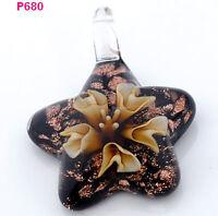 1pc novel star flower art lampwork art glass beaded pendant necklace p680