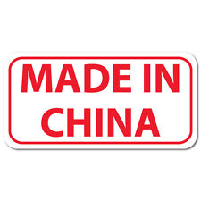 Made In China, Rectangle, Red on White Gloss Labels, Roll of 500