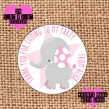 Personalised 24 elephant party bag stickers sweet cone labels pink 1st pes