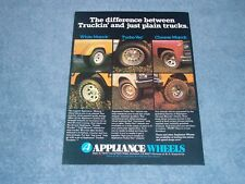 1977 Appliance Wheels Vintage Color Ad Turbo-Vec Truck Mags