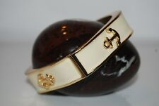 MARINE THEME ANCHORS WHITE ENAMEL ON GOLD TONED METAL STATEMENT HINGED BRACELET
