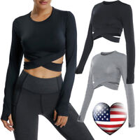 Sexy Womens Yoga Gym Crop Top Compression Workout Athletic Long Sleeve T-Shirt