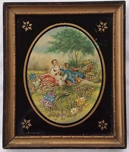 Antique Silk  Embroidered W/C Painting Courting Couple w/ Reverse Painted Glass