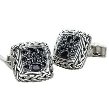 John Hardy Classic Chain Cufflinks with Lava Black Sapphires