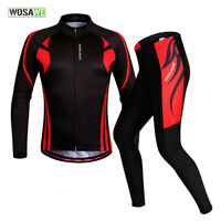 Mens Cycling Sets Long Sleeve Jersey Quick Dry MTB Road Bike Pants Gel Padded