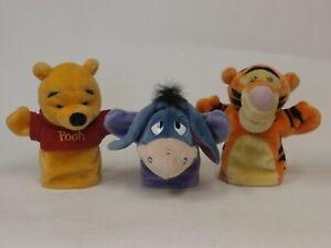 "Plush Hand Puppets Winnie the Pooh , Tigger. Eeyore  lot of 3  8.5"""