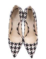 Auth Christian DIOR Volt Houndstooth White Black Pink Fabric Heels Pumps Shoes