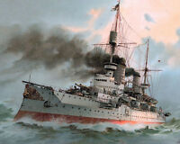 Kaiser Friedrich German Navy Battleship Ocean Painting Real Canvas Art Print New