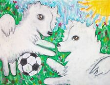 American Eskimo Dog Playing Soccer Pop Vintage Art 8x10 Signed Print Collectible