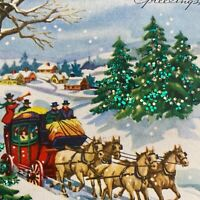 Vintage Mid Century Christmas Greeting Card Stagecoach Ride Green Glitter Trees