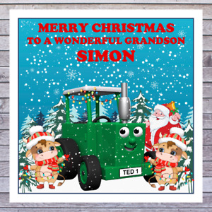 KIDS TRACTOR CHRISTMAS CARDS - personalised with any RELATIONSHIP & NAME