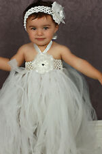 Handmade Toddler Girls Tutu Flowergirl Lace Tulle Party Event Dress Size 1.2.3.4