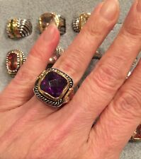 "NEW ""designer inspired"" Dark Purple CZ Ring w.Cable Shank & 2 tone Detail size 6"