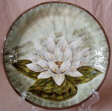 WATERLOO Salad Plate Tabletops Unlimited Gallery White Green Water Lilly 8.5 EUC