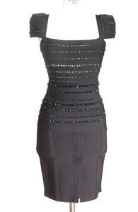 Herve Leger Skirt Set Black Bandage Beaded Top Striking  M mint