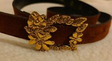 Christian Lacroix Vintage Belt flowers embroidery And gold buckle brown 1990s