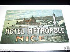 Vintage Luggage Label - Baggage Decal HOTEL METROPOLE NICE - NEW