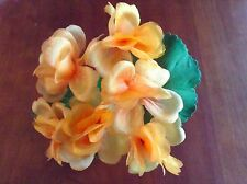 "Vintage Millinery Flower Cluster 1"" blooms Orange Melon Trim For Hat Iyc"