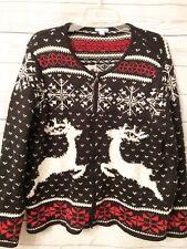 J JILL Reindeer Deer Valley Holiday Cardigan Sweater Snowflake Size M (10/12)