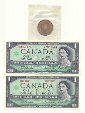 2 x 1967 CANADA CENTENNIAL ONE DOLLAR BANK NOTES and 1967 CONFEDERATION COIN UNC