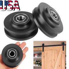 2Pcs Sliding Barn Wood Door Basic Sliding Track Hardware Roller Wheel Pulley US