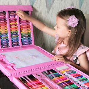 208PCS Kids Colouring Set Drawing Art Case Pencils Painting Childrens w/ Crafts