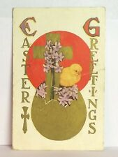 PostCard Easter Greetings Yellow Chick Gold Egg Posted Used 3-26-1910 Vintage