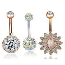 3PCS/Set Stainless Steel Crystal Opal Belly Button Rings Navel Piercing Jewelry~