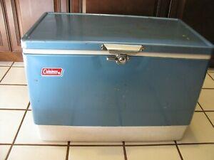 Vintage COLEMAN Steel Metal COOLER Ice Chest BLUE 22.5 x 13.5 x 15.75