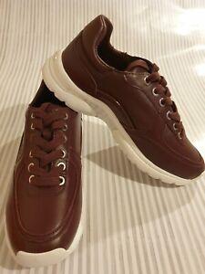 Calvin Klein Orginal Burgundy Cherry Leather Women UK5 Trainer Shoes RRP£135 NEW