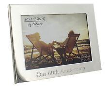 60th Wedding Anniversary Gifts Diamond Wedding Silver Plated 7 x 5 Photo Frame