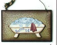 BATHS crackle vintage tub bathroom outhouse powder room Wall Decor wood Sign