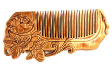 butterfly and rose WOOD CARVED COMB