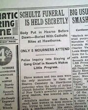 Jewish Mobster DUTCH SCHULTZ NYC Beer Baron Assassination FUNERAL 1935 Newspaper