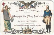 1860 Washington Star Library Association Chromolithographed Lady's Invitation