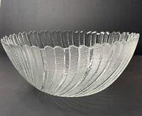 "Vintage Arcoroc France Seabreeze Large Glass 10"" Serving Bowl Swirl Scallop"