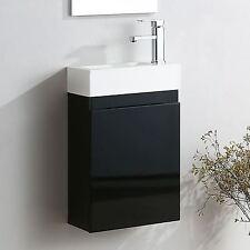 FELIX WALL HUNG BLACK GLOSS VANITY UNIT WHITE RESIN BATHROOM BASIN SINK 400MM