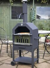 Outdoor Wood Fired Pizza Oven Garden Hooded Wheels Smoker Picnic Charcoal BBQ
