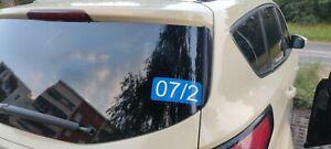 Ordnungsnummer Mietwagen im Set zu 2 Aufklebern in Verkehrsblau bis 4 Zeichen