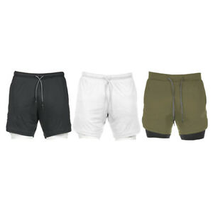 Men's 2-in-1 running shorts with internal compression shorts and pocket, men