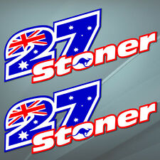 2 Vinyl Stickers Decal Auto Moto GP Casey Stoner 27 Ducati Number Bike USA B 2