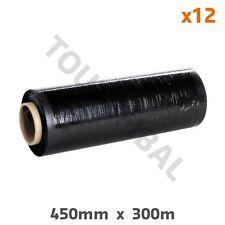 Film étirable noir manuel et opaque 450 mm x 300 m 17 µ (par 12)