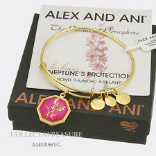 Authentic Alex and Ani Neptune's Protection Larkspur Yellow Gold Charm Bangle