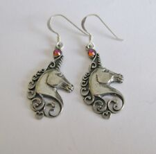 Pewter Unicorn Earrings with STERLING SILVER Ear Wires - Celtic Magic Mystical