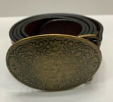 American Eagle Outfitters AEO Women Small Belt Brown Leather Brass Buckle Italy