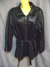 REAL SHEEP SKIN LEATHER COAT BELTED WITH BELT PLUS SIZE SZ 1X BLACK WOMENS LONG