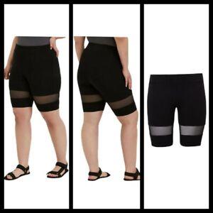 6X 30W Torrid Black Mesh Inset Bike Short High Waist Thick waistband NWT Active