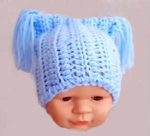 HAND CROCHETED BABY BOYS BLUE HAT square beanie 2 double tassels shower gift new