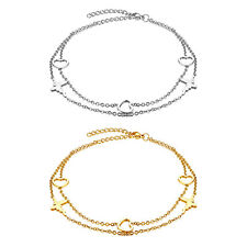 Charm Foot Anklet Chain Bracelet Adjustable Womens Gold / Silver Stainless Steel