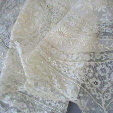 """Antique Creamy French NORMANDY LACE Long Runner 42"""" X 16"""" * Embroidered FLOWERS"""